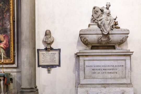 FLORENCE, ITALY - NOVEMBER 6, 2016: Cenotaph of Niccolo Machiavelli in Basilica di Santa Croce (Basilica of the Holy Cross) in Florence. The church is burial place of famous Italians.