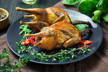Baked quail with vegetables on a plate. Baked poultry in the oven with vegetables and herbs on a dark table.