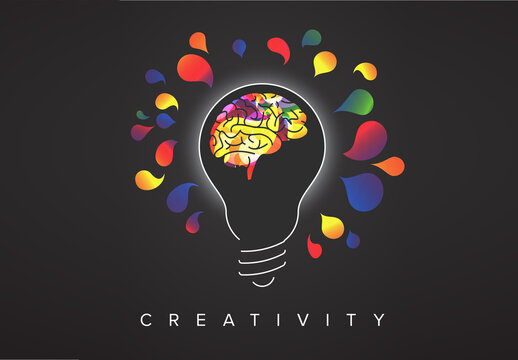 Thinking Concept Illustration with Light Bulb Silhouette and Colorful Brain