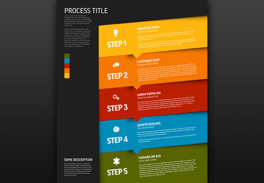 Progress Infographic with Five Color Steps and Icons