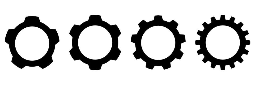 Set of Black gear wheel icons