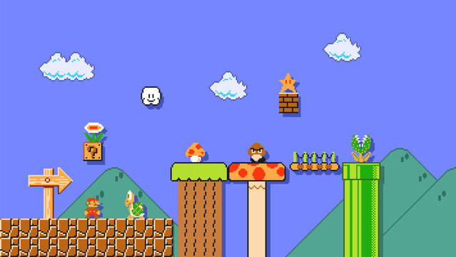 September 11, 2020: Art of Super Mario Bros classic video game, pixel design vector illustration