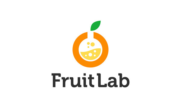 Combination logo from orange fruit and lab symbol logo design concept