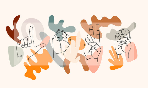 Colorful I Love You sign hand gesture. Abstract valentine's day facebook cover design illustration