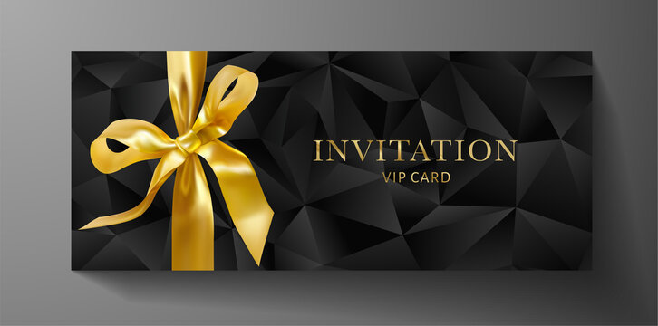 Premium invite VIP card template with black polygon background, gold bow (ribbon). Deluxe geometric poly pattern. Rich holiday design for invitation event, luxury gift certificate, exclusive voucher