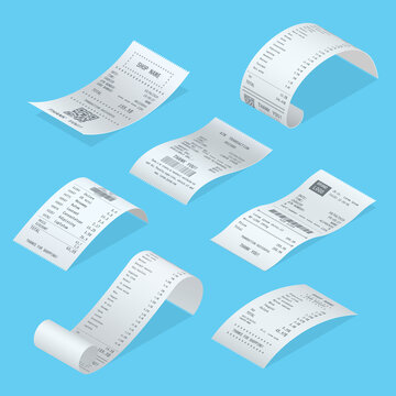 Shopping bills curved short, long with total cost, barcode, goods list realistic templates set.