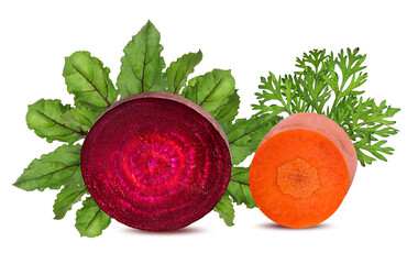 Fototapete - Carrots and beetroot isolated on a white background
