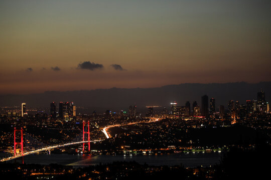 The July 15 Martyrs' Bridge, known as the Bosphorus Bridge, which links the city's European and Asian sides, is pictured in Istanbul