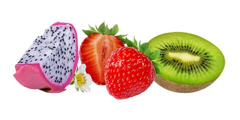 Fototapete - Dragon fruit,kiwi  and strawberry  isolated on white background