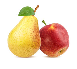 Fototapete - Pear and apple isolated on white background