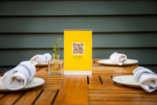QR code used for safely viewing menu at a restaurant.