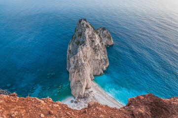 Awesome top view of the two white limestone cliffs of Misithres, Zakynthos island, Greece