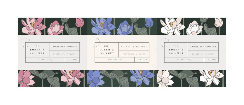 Vector set pattens for cosmetics with label template design. Patterns or wrapping paper for package and beauty salons. Lotus flowers. Organic, natural cosmetic.