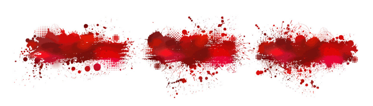Set Red bloody stain. Vector illustration