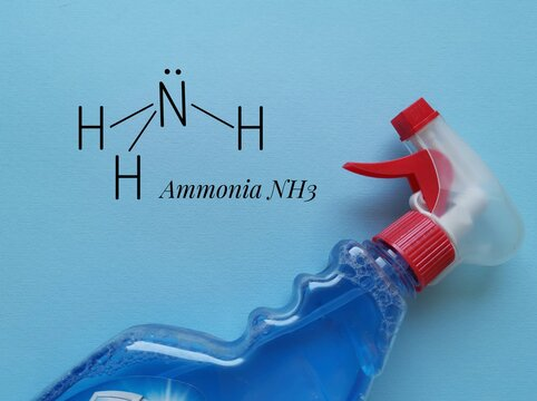 Structural chemical formula of ammonia molecule with ammonia glass cleaner in plastic packaging. Ammonia is used in fertilizer, household cleaning products, plastics, pesticides, refrigerant gas, etc.