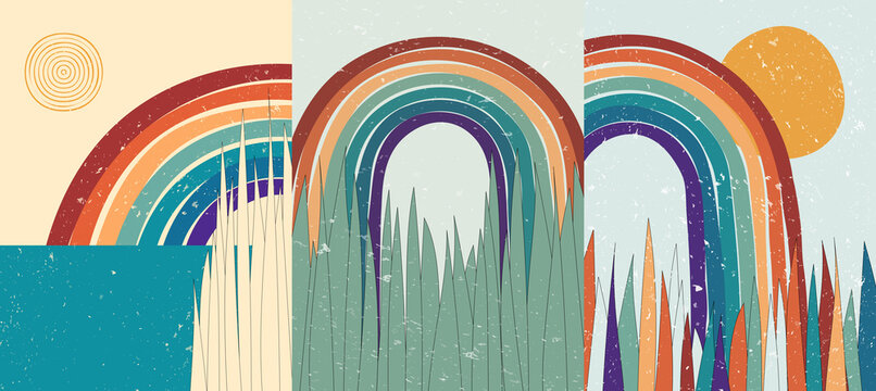 Vector illustration. Abstract poster set. Landscape backgrounds. 60s, 70s retro graphic. Colorful rainbow. Design elements for book cover, page template, print, card, brochure, poster. Grunge texture