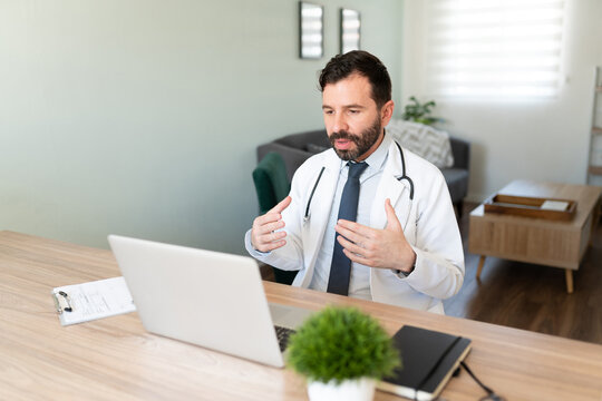 Virtual doctor working from home on a video call