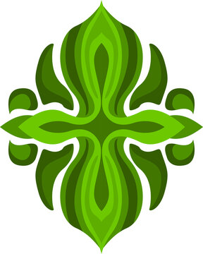 Vector Design of a Green Leaf Ornament with a Nature Theme