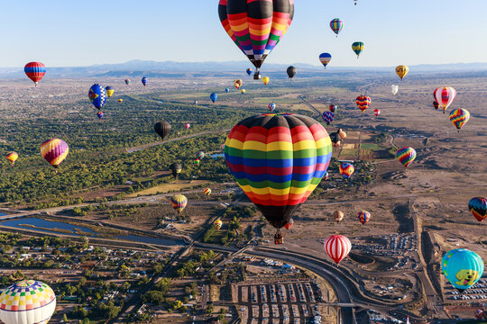 Albuquerque Balloon Fiesta takes place in October each year drawing many visitors from around the world.