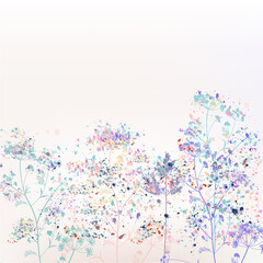 Beautiful abstract vector floral illustration with plants and paint spots