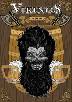 Viking skull head in vintage style and Mug of Beer
