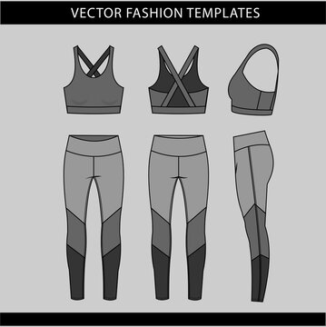 sports wear fashion  flat sketch template, fitness out fit front and back view