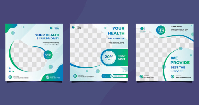 Collection of Medical health care social media post template for hospital and clinic. with green and white background
