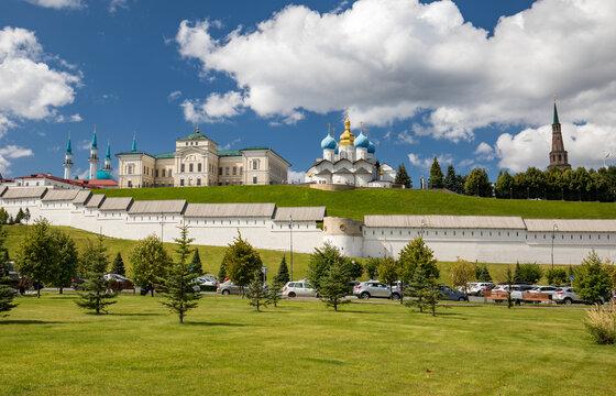 Kazan, Tatarstan, Russia. August 11, 2020. Panorama The Kazan Kremlin.