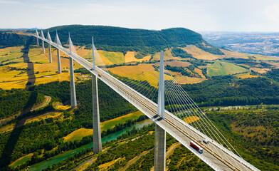 Millau, France - August 11, 2020: Millau viaduct world famous daring Bridge in central France