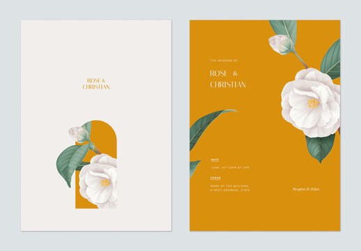 Floral wedding invitation card template design, white Semi-double Camellia flowers with leaves