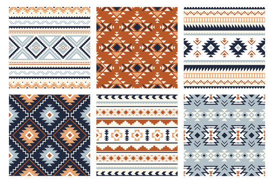 Tribal indian seamless pattern. Color mexican, aztec and maya ornament, ethnic stylish fabric geometric print wallpaper texture vector set. Unique folk, national culture collection