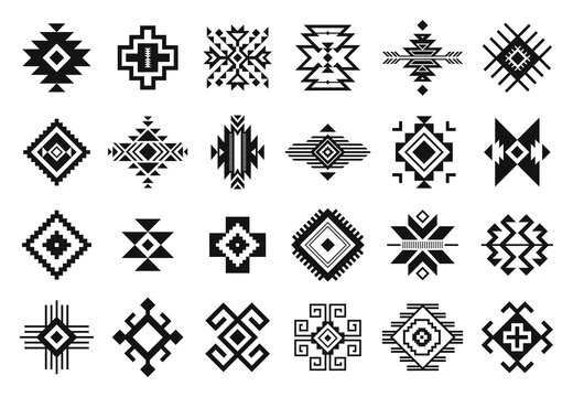 Tribal elements. Monochrome geometric american indian patterns, navajo and aztec, ethnic ornament for textile decorative ornament vector set. Black cultural national symbols, art decoration