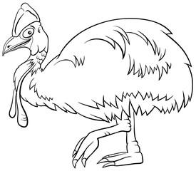 cassowary bird animal character cartoon coloring book page