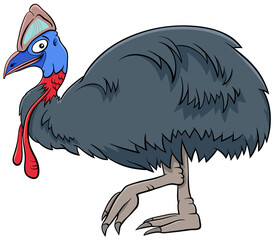 cassowary bird animal character cartoon illustration