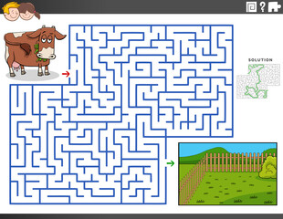maze educational game with cow and pasture