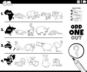 odd one out animal picture game coloring book page