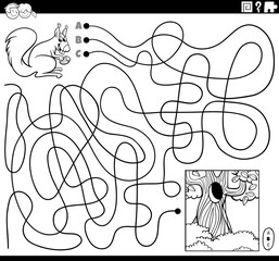 maze with squirrel and hollow coloring book page