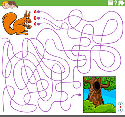educational maze game with cartoon squirrel and hollow