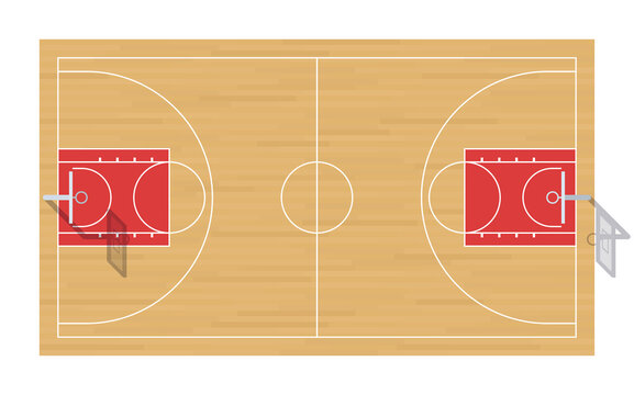 Basketball court with baskets. Top view.