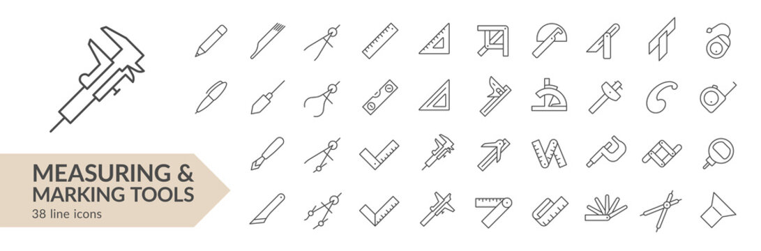 Measuring & marking tools line icon set. Isolated signs on white background. Vector illustration. Collection