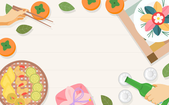 Chuseok Food Background Vector illustration. Korean traditional food for Thanksgiving Day. Persimmon fruits ,songpyeon(rice cake) and soju