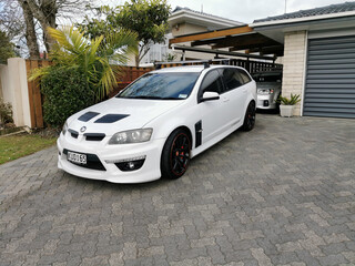 AUCKLAND, NEW ZEALAND - Sep 05, 2020: White Holden Club Sport car at drive way