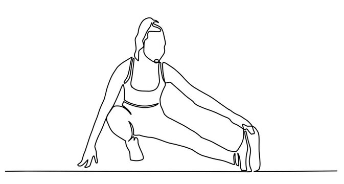 Woman stretching legs fitness. Continuous one line drawing. Vector illustration. Woman stretching her legs and arms on yoga exercise. Energetic girl doing exercise in yoga continuous one line drawing
