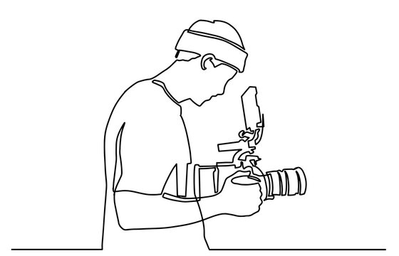 Young tourist man photographer with a camera takes pictures. One line drawing isolated vector object by hand on a white background. Continuous single drawn one line operator with camera