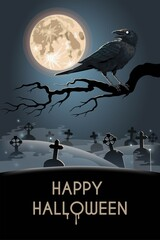 Halloween card with raven on the graveyard