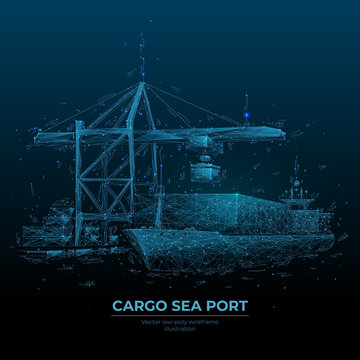 Abstract low poly cargo sea port. 3d ship, port crane and containers in dark blue. Container ships, transportation, logistics, business or worldwide shipping concept. Digital vector mesh illustration