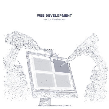 Abstract computer screen and robotics isolated in white. Innovative web development, app or website design concept. Vector sketch drawing with lines, dots, particles and triangles. Low poly wireframe