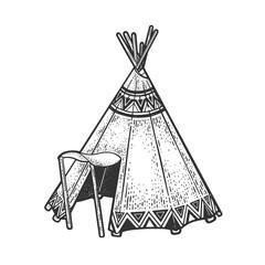 Wigwam hut sketch raster illustration