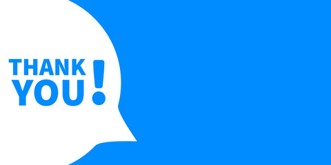 Fototapeta Speech bubble with thank you banner. Vector label text message. obraz