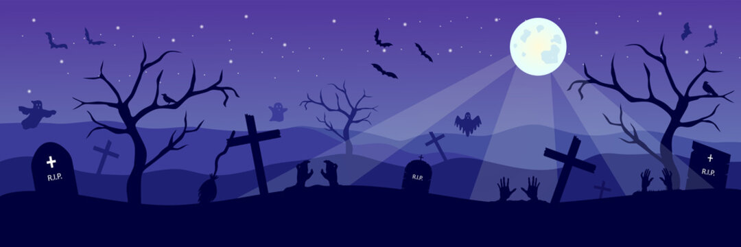 Happy Halloween banner with spooky ghosts and bats on cemetery. Scary night background with zombie and moon.